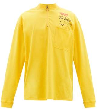 Off-White Off White Logo-print Zipped Cotton-jersey T-shirt - Mens - Yellow Multi