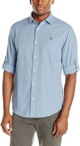 Original Penguin Men's Dobby Check Long Sleeve Roll Sleeve Shirt