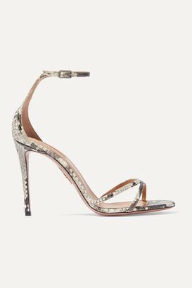 Aquazzura Purist 105 Elaphe Sandals - Snake print