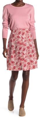 Halogen Floral Print Button Front Knee-Length Skirt (Regular & Petite)