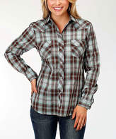 Roper Chocolate & Turquoise Plaid Button-Up