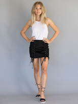 West Coast Wardrobe Corrine Front Double Lace Suede Skirt in Black