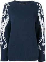 Chanel Pre Owned lion brush print jumper