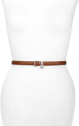 Prada City Skinny Leather Belt with Logo Charm