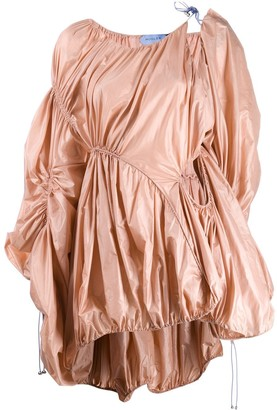 Thierry Mugler Asymmetric Parachute Drawstring Dress