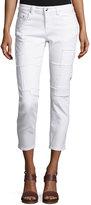 Derek Lam 10 Crosby Mila Patchwork Mid-Rise Slim Girlfriend Jeans, White