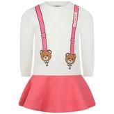 Moschino Girls Ivory Teddy Braces Dress