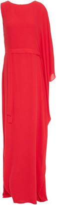 Halston Asymmetric Draped Crepe De Chine Gown