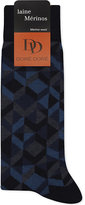 Dore Dore Dore Mens Blue Multi-Diamond Wool-Blend Socks