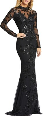 Mac Duggal Sequin Illusion Long Sleeve Open Back Trumpet Gown