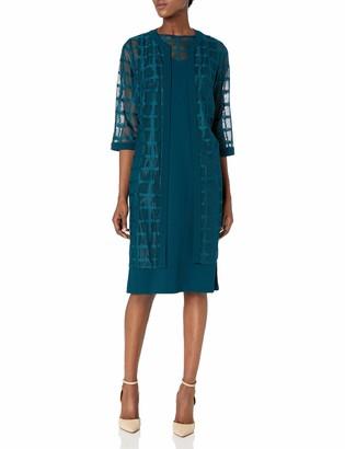 Maya Brooke Women's Windowpane Long Jacket Dress