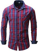 Elonglin Mens Casual Checke Shirt Long Sleeves Plaid Shirt Contrast Colors Cotton