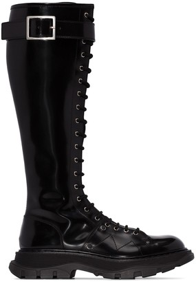 Alexander McQueen Lace-Up Leather Boots