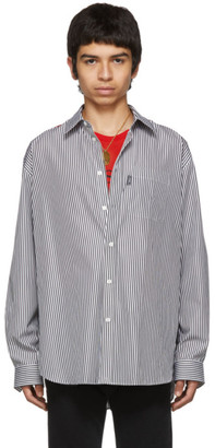 Versace Black and White Striped Panel Shirt