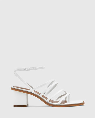 Wittner - Women's White Sandals - Jayson Leather Strappy Block Heel Sandals - Size One Size, 38 at The Iconic
