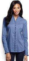 Classic Women's Regular Long Sleeve Ruffle Placket Shirt-China Blue