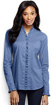 Classic Women's Regular Long Sleeve Ruffle Placket Shirt-Pearl White