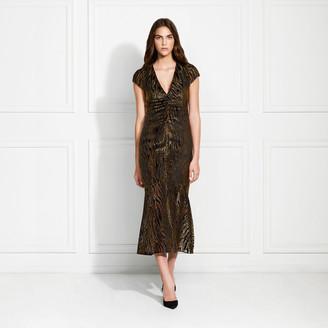 Rachel Zoe Goldie Lurex Velvet Burnout Midi Dress