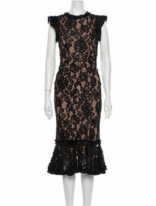 Alexis Lace Pattern Midi Length Dress w/ Tags Black