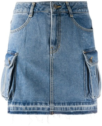 Sjyp Cargo-Pocket Denim Skirt