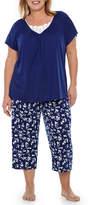 Adonna Lace Insert Capri Pajama Set-Plus