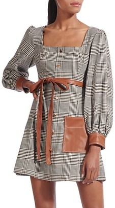 STAUD Oz Plaid Faux Leather-Trim Dress
