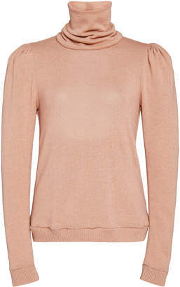 Johanna Ortiz Open-Back Ribbed Cashmere Turtleneck Sweater