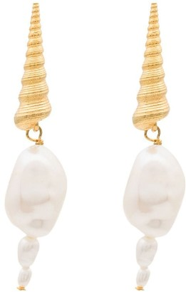 Anni Lu Shell Pearl Drop Earrings
