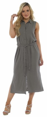 CityComfort Ladies Summer Linen Sleeveless Long Shirt Dress | Button Through Tunic with Matching Belt and Side Splits | Women Petite to Plus Size Ladies Fashion Available from UK 10 to 20 (18