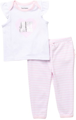 Juicy Couture Logo Heart Ruffled Top & Leggings Set (Baby Girls 12-18M)