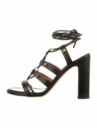 Valentino Rockstud Accents Leather Gladiator Sandals Black