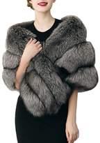 Simplee Apparel Women's Winter Faux Fur Shawl Fur Tippet Grey