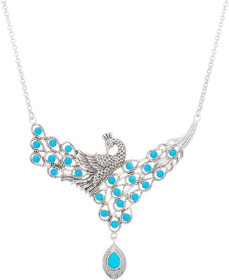 Sterling Silver Trurquoise Peacock Statement Necklace