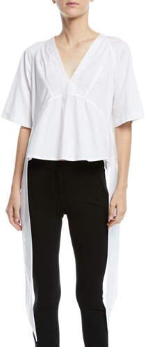 Calvin Klein V-Neck Short-Sleeve Draped-Sides Cotton Top