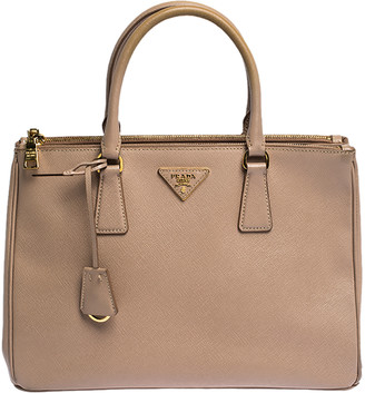 Prada Nude Saffiano Lux Leather Medium Double Zip Tote