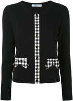 Blumarine checked detail cardigan - women - Cotton/Spandex/Elastane - 44