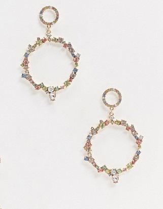 Aldo Wywen embellished drop hoop earrings in multi gold