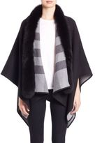 Burberry Reversible Fox Fur-Trimmed Check Merino Wool Poncho
