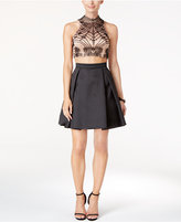 Xscape Evenings Two-Piece Beaded Open-Back Fit & Flare Dress
