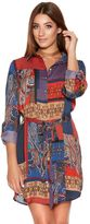 Quiz Red And Blue Satin Tile Print Shirt Dress