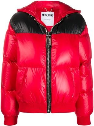 Moschino Zipped Logo Print Puffer Jacket