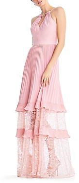Aidan Mattox Pleated Illusion Gown