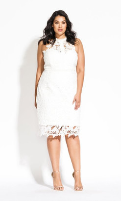 City Chic Lace Victorian Dress - ivory