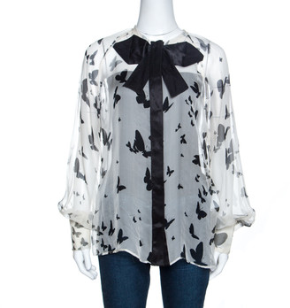 Dolce & Gabbana Bicolor Butterfly Print Sheer Silk Bow Detail Blouse M