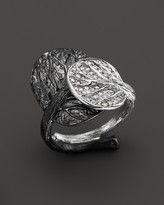 Michael Aram Sterling Silver Double Leaf Ring with White Diamond Pavé