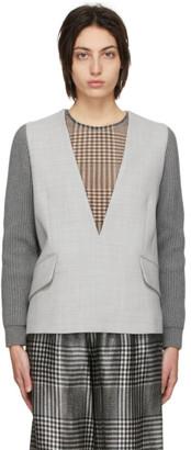 MM6 MAISON MARGIELA Grey Wool Blazer V-Neck Sweater