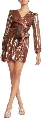 Cynthia Rowley Rocky Long-Sleeve Silk Lame Wrap Dress