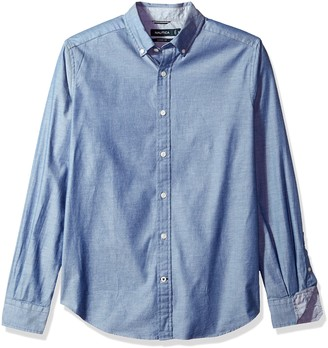 Nautica Men's Standard Long Sleeve Slim Fit Solid Stretch Twill Button Down Shirt
