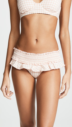 Tory Burch Gingham Skirted Bikini Bottoms