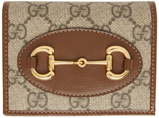 Gucci Beige and Brown GG 1955 Horsebit Card Holder Wallet